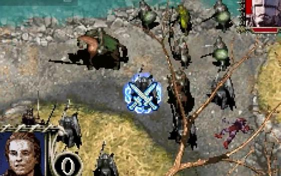 Aquí se ve un resumen de una batalla: cada unidad en una casilla, el caballero dispuesto a darle un espadazo al Uruk-Hai, y abajo a la izquierda los turnos que nos quedan (0 en este caso).