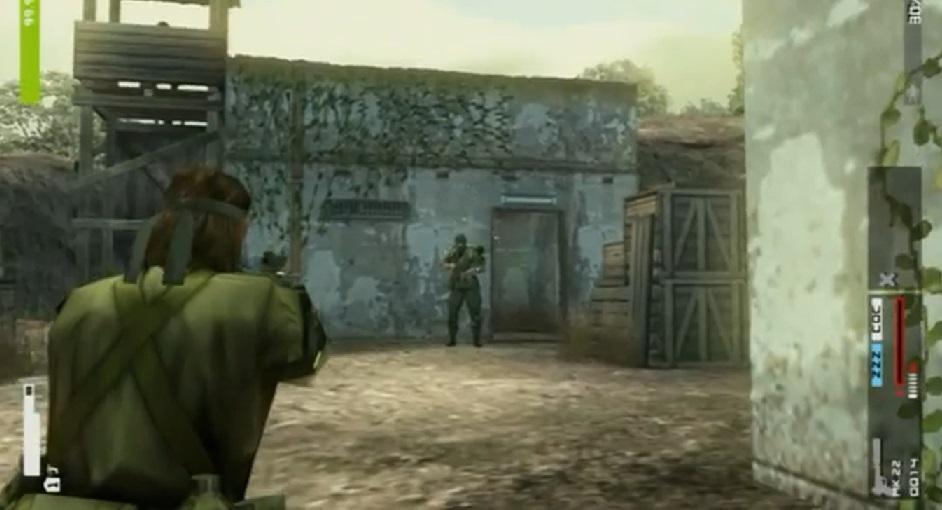"""Esta imagen pretende ilustrar dos cosas: 1) La """"cámara al hombro"""" que nos permite disparar y movernos a la vez y 2) Que los guardias de la saga Metal Gear no pasan un psicotécnico."""